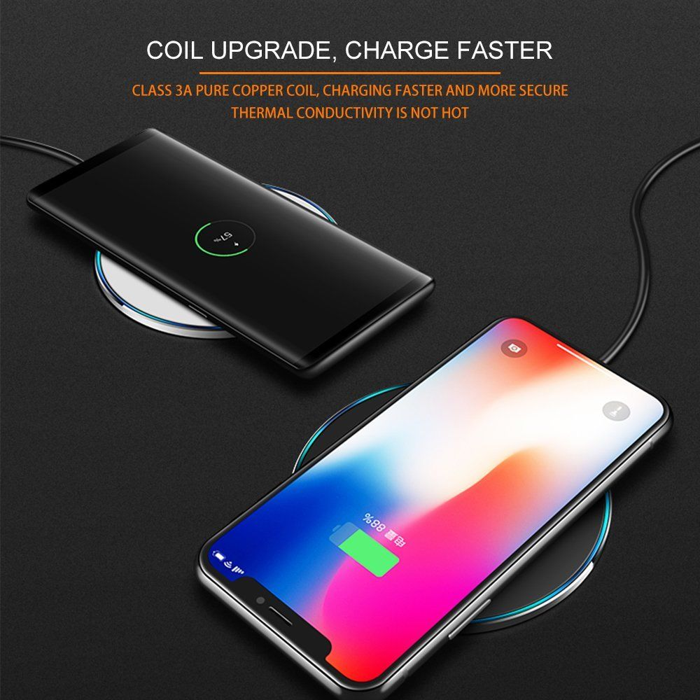 iphone x 10 qi wireless fast charger charging pad mats. Black Bedroom Furniture Sets. Home Design Ideas